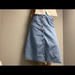 Vintage 90s Liz Wear Button Front Maxi Denim Skirt